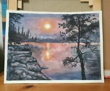 Aquarellkunst Gemälde Bild Sonnenuntergang am See 30x40cm