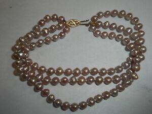 """10K Gold 3 strand 4.5mm Cultured Natural Lavender Pearl BRACELET 8""""  Vintage"""