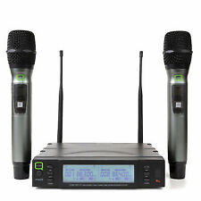 Q Audio QWM 1960 V2 HH UHF Dual CH True Diversity System 2x Handheld Microphones