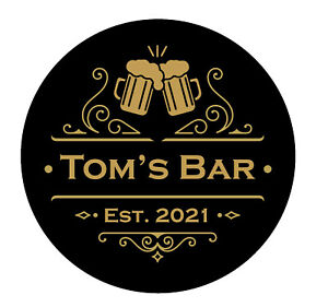 Personalised Bar Crest Coaster - Beer Home Pub Cafe Occasion - Man Cave - Gift