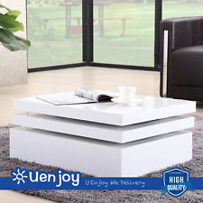 White Round Coffee Table Rotating Contemporary Modern Living Room Furniture
