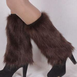 LADIES BOOT CUFF FLUFFY SOFT FURRY FAUX FUR LEG WARMER WOMEN BOOT TOPPERS SUPER