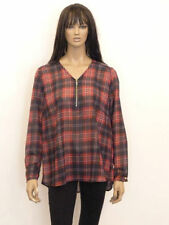 Polyester Check Long Sleeve Plus Size Tops & Blouses for Women