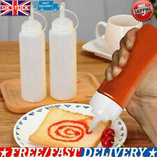 3 x Plastic Clear Squeeze Squeezy Sauce Bottle Mayo Dispenser Bottles UK Stock