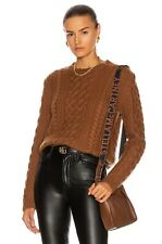 NEW $895 Nili Lotan Cashmere Jodelle Cable Knit Crew Neck Sweater in Cognac M