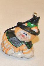 Eddie Walker Halloween Orange Striped Cat Witch Miniature Ornament Rare Find!