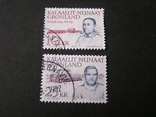 GREENLAND, SCOTT # 231/232(2),COMPLETE 1990FREDERICK LYNGE POLITICIAN ISSUE USED