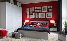 Modern Bedroom Furniture Set King Size Bed Wardrobe Shabby Chic White Washed Pr