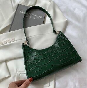 Green Croc Effect Baguette Shoulder Bag