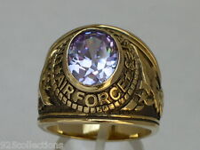 United States Air Force Military June Lt Amethyst CZ Birthstone Men Ring Size 7