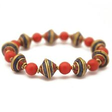 "Coral Lapis Brass Stretchable Bracelets 7.5"" Tibetan Nepalese Handmade Boho BR28"