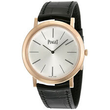 Piaget Altiplano Mechanical Silver Dial Leather Ladies Watch G0A31114