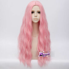 Lolita 78CM Pastel Pink Long Curly Wig Anime Cosplay Wig Full Wigs + Cap