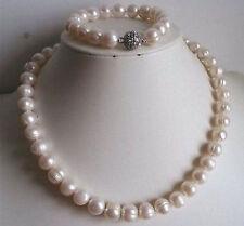 "9-10mm  White freshwater Cultured Pearl Necklace Bracelet Set 18""/7.5"""