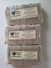3 BARS PEPPERMINT CHARCOAL VEGETABLE GOAT MILK SOAP HAPPY GOAT CREAMERY CHEAP