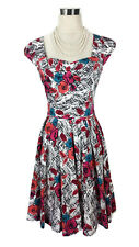REVIEW Dress- 1950s Vintage Retro Style Floral White Black Red Blue Pink Pleat 8