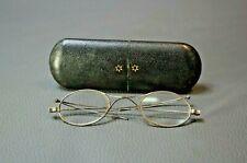 19c.Antique Eyeglass Folding Spectacles Wire Rim Turn-pin Pivot Oval Lens Case