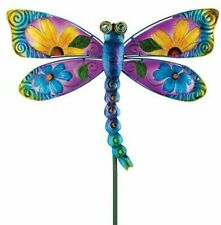 Floral Dragonfly Garden Stake Metal Sculptures Yard Art Lawn Outdoor Decor Gift