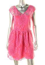 AQUA ~ Pink Lace Illusion Yoke V Back Fit & Flare Cocktail Dress S NEW $118