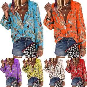 Womens Long Sleeve T-Shirt Casual Tops Boho Hippie Blouse Shirt Tops Plus Size