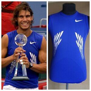 Nike Rafael Nadal 2008 Cincinnati Sleeveless Blue Tennis Shirt Size M