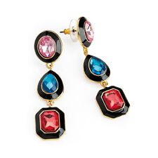 New Gold, Black & Multi Colour Stone Long Drop Earrings ER32731