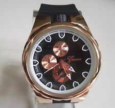 Men's Black/Rose Gold With Silicone Band Dressy/Casual Fashion Wrist Watch
