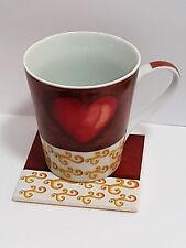 Kaffeebecher / Kaffeetasse Set Liebe Herz rot Tasse Untersetzer Kork Porzellan