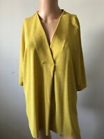 Ladies X Large Lime Yellow Texture V Neck Blouse Top by Irish Label  'Gallery'