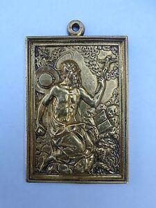 Renaissance 16th Century Gilt Bronze Saint Jerome Lion Skull Spanish Plaque !