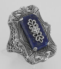 Diamond Ring Victorian Style Blue Lapis Filigree - Sterling Silver