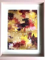 Original Abstract Signed Oil Painting Art Painting  Pink Frame 8x10