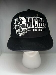 SONS OF ANARCHY Leather Bill  Snapback Hat Cap Knit Black Embroidered SOA