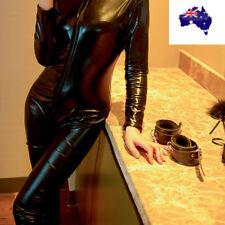 Fever Miss Whiplash Vinyl Suit Black Catsuit Catwoman Fancy Dress Costume  BO