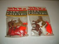 2 LARGE Farm Animals Play Set Figures NEW in Vintage Baggie Rare Joy Toy Lot