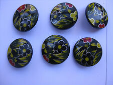 25mm  Large Black Floral Print Vintage Silver Red Green Sewing Buttons  Set of 6