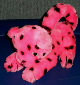 VTG 1986 Princess Soft Toys Jungle Babies Hot Pink Leopard Jaguar Cheetah Plush