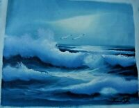 *PERFECT Seascape OCEAN WAVES 2 Seagulls Oil on Canvas Painting Signed Un-Framed