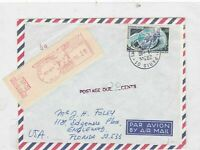 france to florida postage due machine cancel  stamps cover Ref 9781