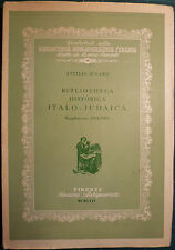 EBRAISMO: MILANO, BIBLIOTHECA HISTORICA ITALO-JUDAICA. SUPPLEMENTO. 1 ED.