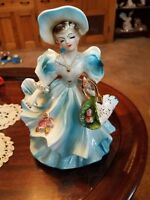 Lady In Gown With Flower Basket Blue And White Japan Vintage