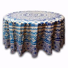 Handmade 100% Cotton Blooming Floral 81 inches Round Tablecloth Beige Blue