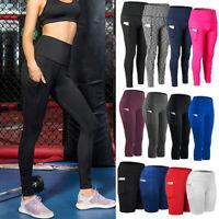 Damen Yoga Hose Biker Taschen Leggings Kurze Hose Workout Sporthosen Gym Leggins
