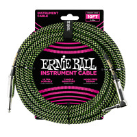 Ernie Ball PO6077 Braided Instrument Cable 10 Ft. BLACK GREEN 749699100317
