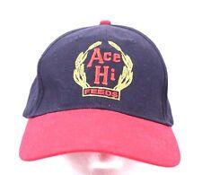 Ace Hi Feeds Ball Cap Trucker Hat Adjustable 100% Cotton Navy Red