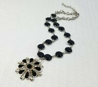 Black and Smoky Crystal Starburst Pendant and Black and Silver Tone Choker