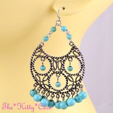 Vintage Filigree Turquoise Gems Ethnic Gypsy Statement Chandelier Hoop Earrings