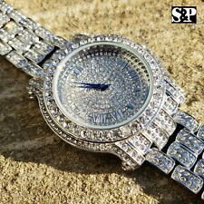 Men Hip Hop Iced out Bling White Gold PT Blue Hand Bling Simulated Diamond Watch