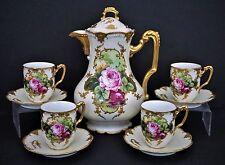 Gilt Antique Limoges Porcelain Chocolate Pot Set w 4 Cups & Saucers HP Roses