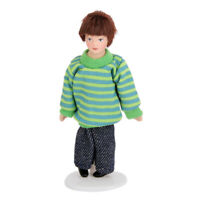 Dollhouse Porcelain Dolls Brown Hair Little Boy in Sweater 1:12 Miniature